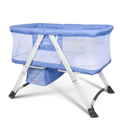 Besrey 2 in 1 Travel Cot for Baby Kids with Swing+Wheels Bassinet Set, Protect Baby from Mosquito, Foldable Collapsible Infant Bed,Blue/Gray