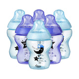 Tommee Tippee Closer to Nature Decorated Baby Bottles, 260 ml, 6 Count