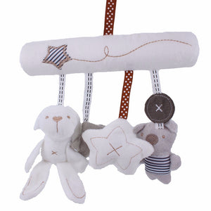 Baby Plush Activity Crib Stroller Soft Hanging Toys Rabbit Star Shape with Music
