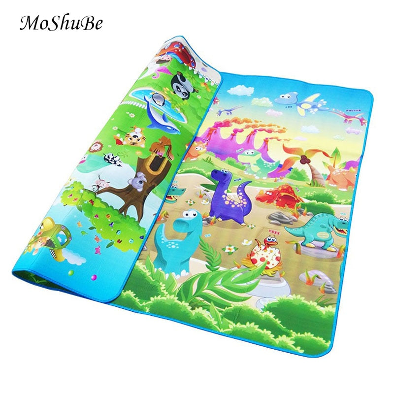 Baby Play Mat 0.5cm Thick Crawling Mat Double Surface Baby Carpet Rug Animal Car+Dinosaur Developing Mat for Children Game Pad