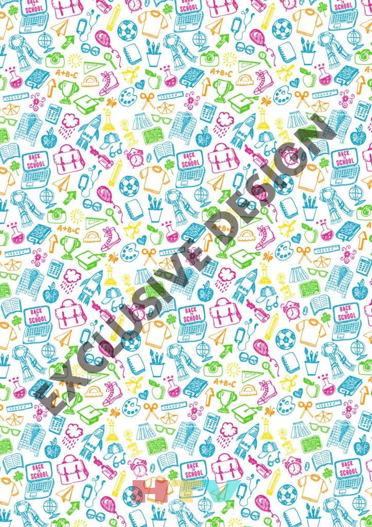 12 X 17 Back To School Doodles Pattern Htv Sheet