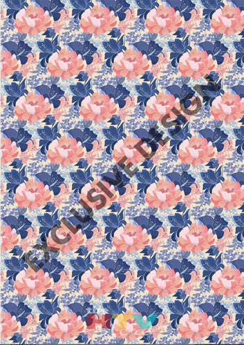 12 X 17 Blue And Coral Flowers Floral Mothers Day Pattern Htv Sheet