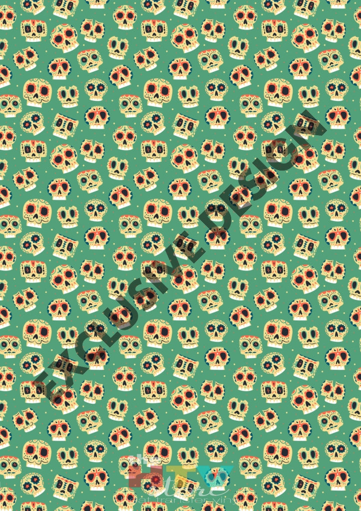 12 X 17 Calaveras With Green Pattern Htv Sheet