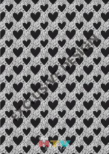 12 X 17 Chalk Hearts Black And White Pattern Htv Sheet
