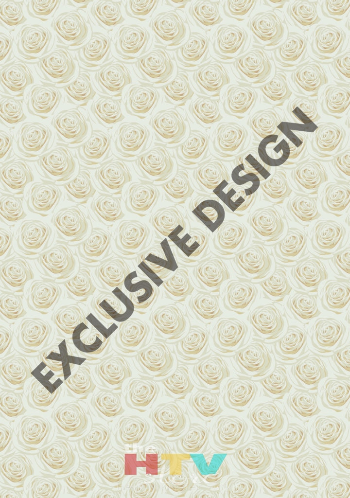 12 X 17 Cream Roses Wedding Flowers Floral Bridal Pattern Htv Sheet