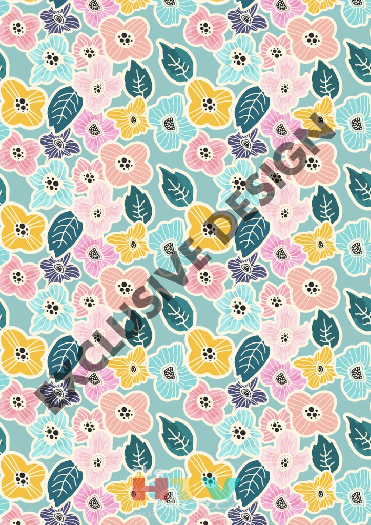 12 X 17 Cute Spring Flowers Pattern Htv Sheet