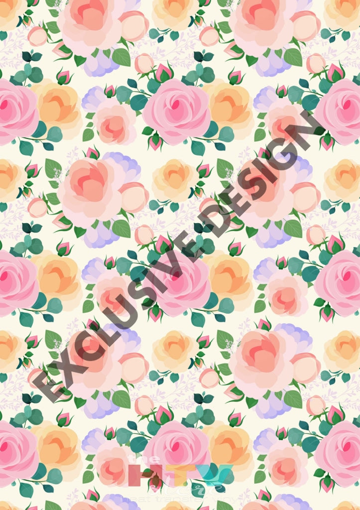 12 X 17 Flowers Floral Roses Htv - Pastel Colors Peach Mom Mothers Day Pattern Sheet