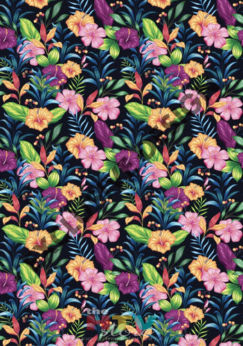 12 X 17 Hawaiian Floral Flowers 2 Summer Pattern Htv Sheet