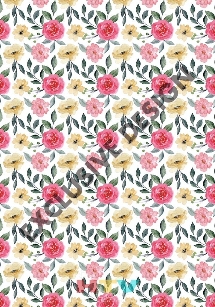 12 X 17 Roses Pink And Coral Pattern Htv Sheet