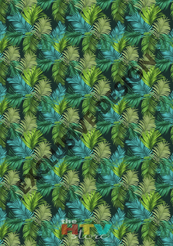 12 X 17 Teal Green Leaves Pattern Htv Sheet