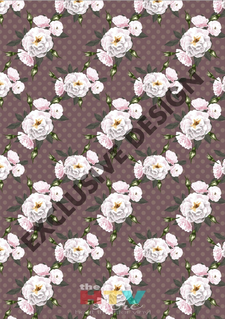 12 X 17 Vintage Violet And Cream Roses Pattern Htv Sheet