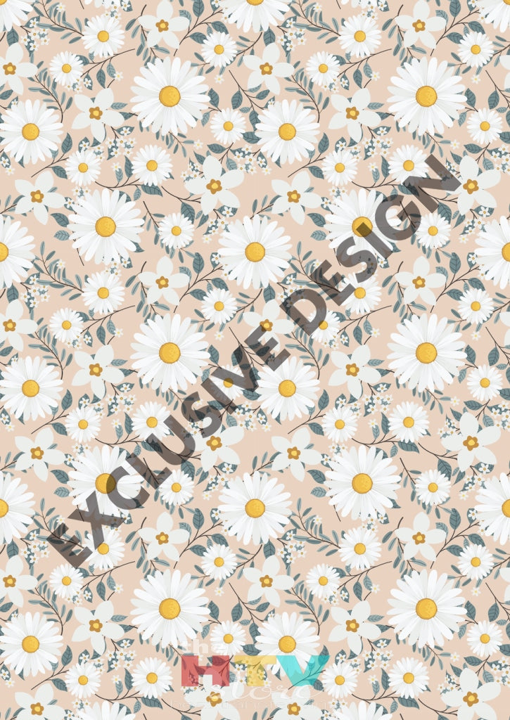12 X 17 White Daisies Pink Background Pattern Htv Sheet