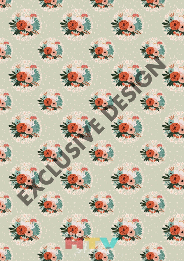 12 X 17Floral Flower Circles Vintage Shabby Chic Pattern Htv Sheet