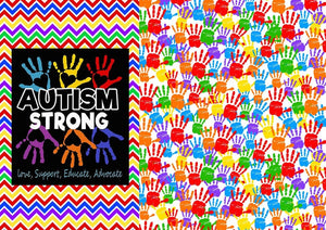 "12"" x 17"" Autism Awareness HTV - Hands Puzzle Pieces Ribbons Pattern HTV Sheet"