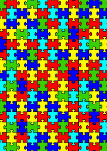 "12"" x 17"" Autism Awareness HTV - Big Puzzle Pieces Ribbons Pattern HTV Sheet"