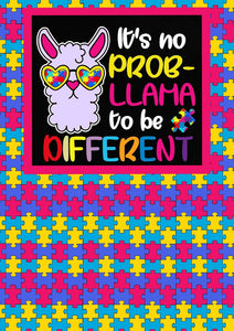 "12"" x 17"" Autism Awareness HTV - Llama Puzzle Pieces Ribbons Pattern HTV Sheet"