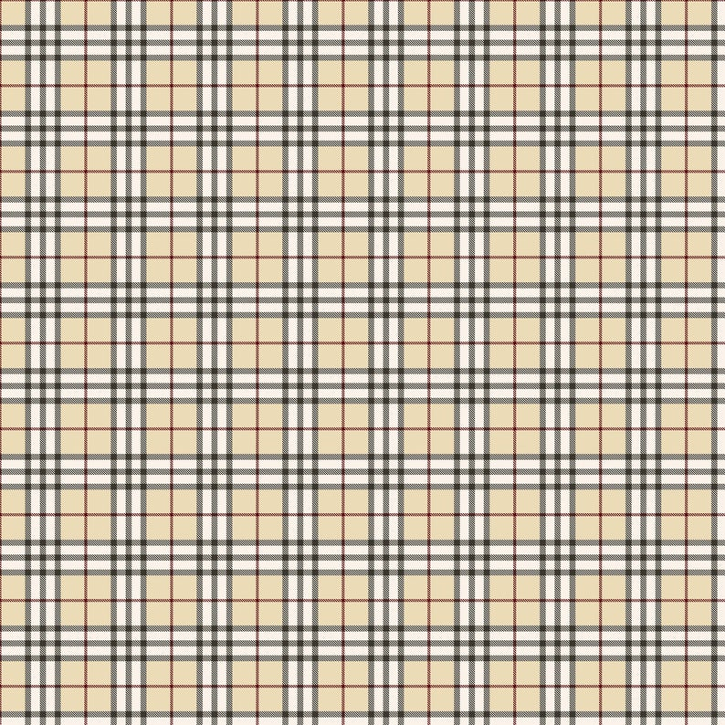 Beige Black Plaid Pattern Decal 12