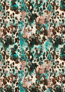 "12"" x 17"" Cowhide Brown Teal HTV Serape Print Mexico Background Pattern Heat Transfer Vinyl Sheet"
