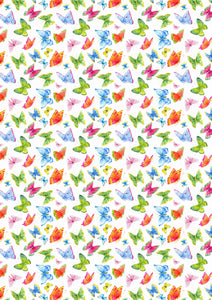 "12"" x 17"" HTV Butterflies Multicolor Pattern Heat Transfer Vinyl Sheet"