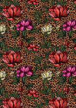 "Load image into Gallery viewer, 12"" x 17"" BRAND NEW Cheetah FLORAL Colorful Background Pattern HTV Sheet"