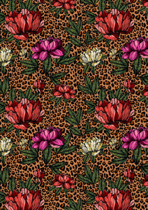 "12"" x 17"" BRAND NEW Cheetah FLORAL Colorful Background Pattern HTV Sheet"