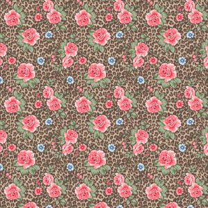 "Cheetah Roses Peach Flowers Pattern Decal 12"" x 12"" Sheet Waterproof - Gloss Finish"