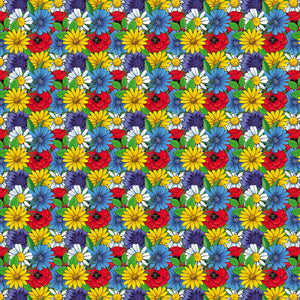 "Colorful Flowers Decal Floral Pattern  12"" x 12"" Sheet Waterproof - Gloss Finish"
