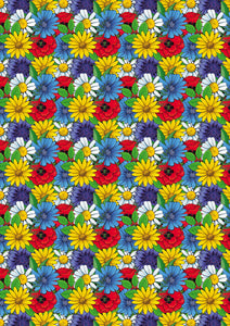 "12"" x 17"" Colorful Flowers Floral Pattern HTV Sheet Heat Transfer Vinyl"