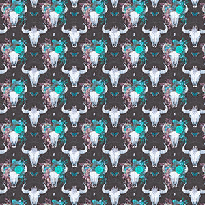 "Cow Skull Head Teal Decal 12"" x 12"" Vinyl Flowers Floral Pattern DecalSheet Waterproof Adhesive - Gloss Finish"