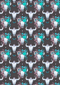 "12"" x 17""  Cow Skull Head HTV Teal Flowers Floral Pattern HTV Sheet"