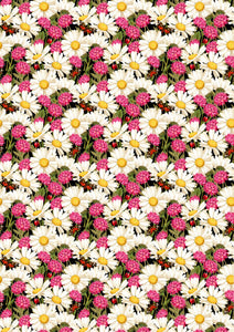 "12"" x 17""  Daisies and Flowers HTV Teal Magenta Floral Mother's Day Wedding Pattern HTV Sheet"