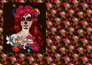 "12"" x 17"" Dia de Muertos Red Head Skulls Flowers Floral Pattern HTV Sheet"