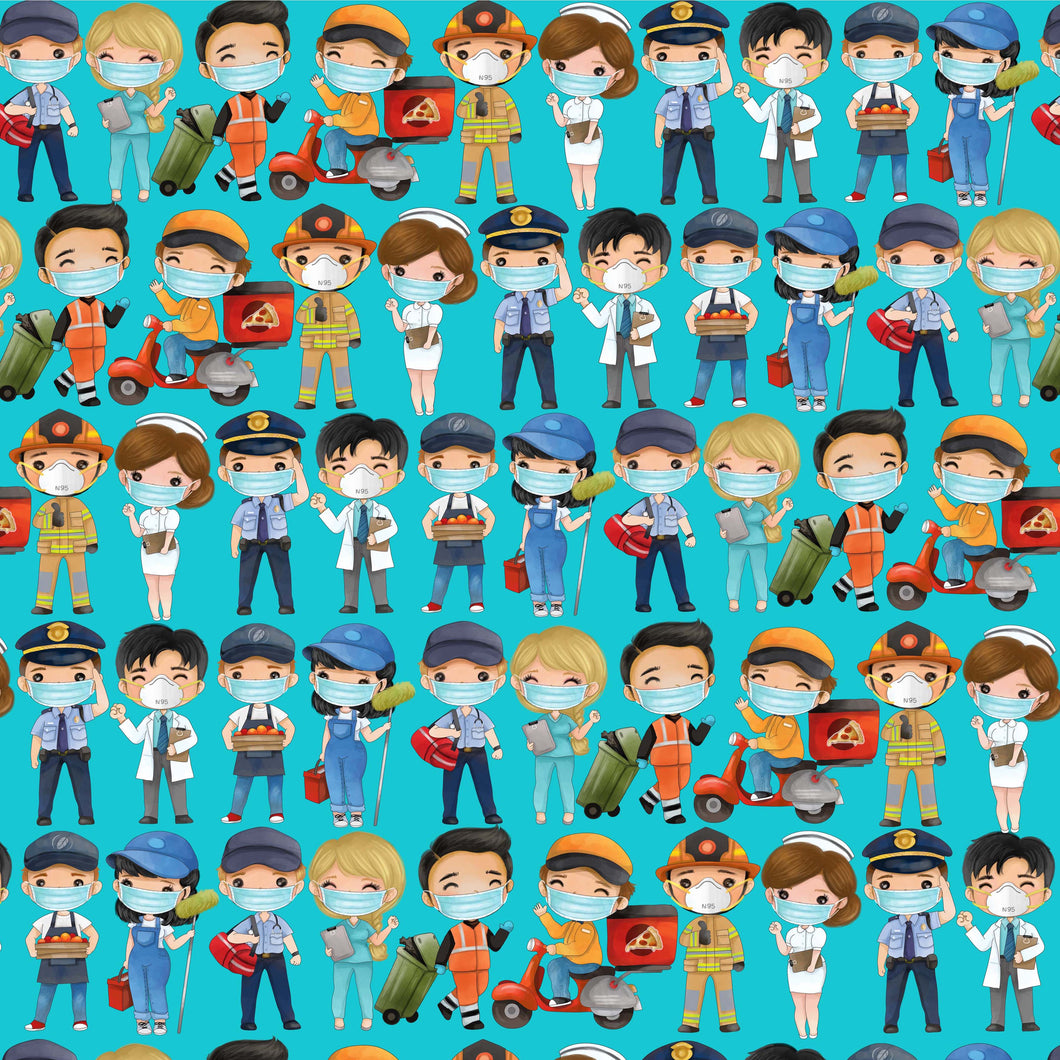Essential Workers Pattern Decal Teal 12