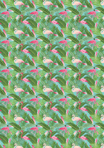 "Flamingo Tropical Leaves Pattern HTV 12"" x 17"" Sheet"