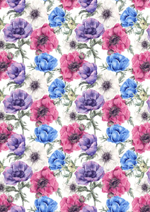"12"" x 17""  Flowers Purple Pink Blue Floral Mother's Day Wedding Pattern HTV Sheet"