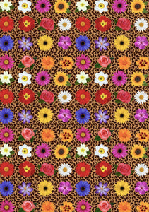 "12"" x 17"" Cheetah and Flowers Pattern HTV Sheet - Mother's Day Heat Transfer Vinyl"