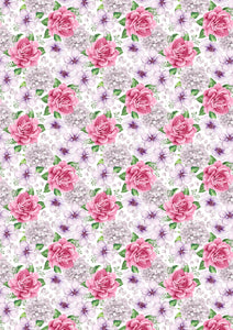"12"" x 17""  Pink Lavender Flowers Floral Mother's Day Wedding Pattern HTV Sheet"