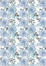 "Load image into Gallery viewer, 12"" x 17""  Pastel Elegant Blue Peonies Floral Mother's Day Wedding Pattern HTV Sheet"