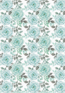 "12"" x 17""  Pastel Elegant Aqua Teal Peonies Floral Mother's Day Wedding Pattern HTV Sheet"
