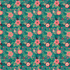 "Flowers on Green Pattern Decal 12"" x 12"" Sheet Waterproof - Gloss Finish"