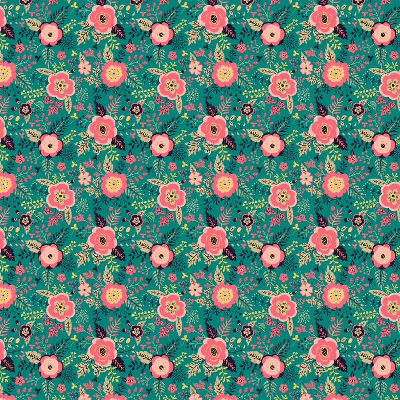 Flowers on Green Pattern Decal 12