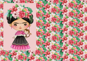 "12"" x 17"" Mexican Girl NEW Design Pink Pinata Mexico Pattern HTV"