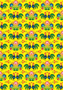 "12"" x 17"" BRAND NEW HTV Roosters Gallos FLORAL Mexico Pattern Heat Transfer Vinyl Sheet"