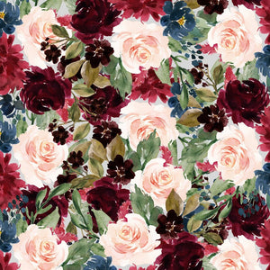 "Maroon Flowers Pattern Decal 12"" x 12"" Sheet Waterproof - Gloss Finish"