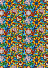 "Load image into Gallery viewer, 12"" x 17"" BRAND NEW HTV Mexican Flowers Blue Mexico Pattern Heat Transfer Vinyl Sheet"