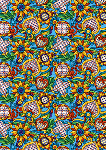 "12"" x 17"" BRAND NEW HTV Mexican Flowers Blue Mexico Pattern Heat Transfer Vinyl Sheet"