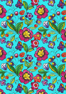 "12"" x 17"" BRAND NEW HTV Mexican Flowers Teal FLORAL Mexico Pattern Heat Transfer Vinyl Sheet"