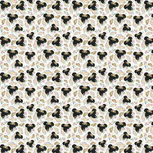 "Mouse Crown White Princess Flowers Ears Magical Pattern Decal 12"" x 12"" Sheet Waterproof - Gloss Finish"