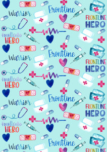 "12"" X 17"" Nurses Doctors HEROES HTV Pattern HTV Sheet Teal Printed Sheet - Heat Transfer Vinyl"