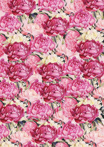 "12"" x 17""  Peonies All Over HTV Floral Mother's Day Wedding Pattern HTV Sheet"